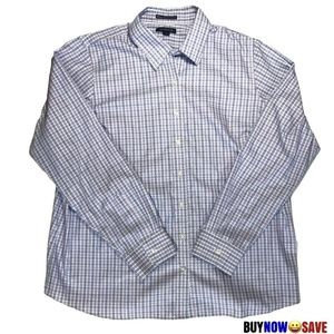 Lands' End Women Blue Purple Check Dress Shirt